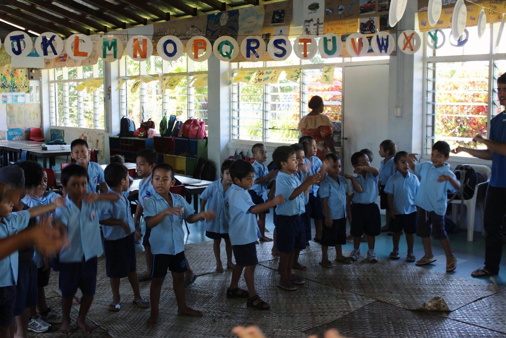 A group of school children at a care placement in Samoa